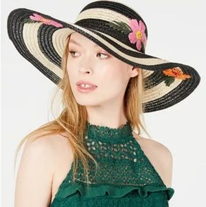 BETSEY JOHNSON striped floppy hat floral bliss hat